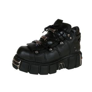 boty kožené NEW ROCK String Shoes (106-S1) Black černá 44