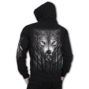 mikina s kapucí SPIRAL FOREST WOLF černá L