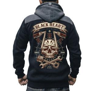 mikina s kapucí BLACK HEART CHOPPER SKULL RG černá