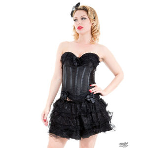 korzet HEARTS AND ROSES Black Corset With Skirt M