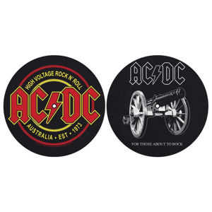 podložka na gramofon (set 2ks) AC/DC - FOR THOSE MOUT TO ROCK - HIGH VOLTAGE - RAZAMATAZ - SM009