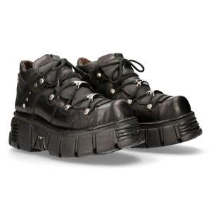 boty kožené NEW ROCK ITALI NEGRO černá 44