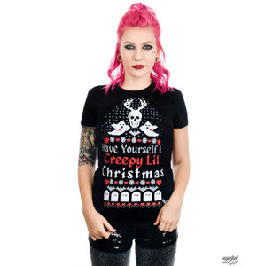 tričko gothic and punk TOO FAST HAVE YOURSELF A CREEPY LIL CHRISTMAS BABYDOLL černá S