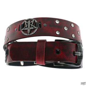 opasek s kovem Leather & Steel Fashion red 120