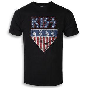 Tričko metal HYBRIS Kiss Stars & Stripes černá